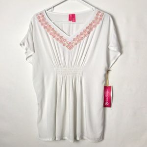 NWT Lilly Pulitzer Top White/Pink Embroidery XL/14